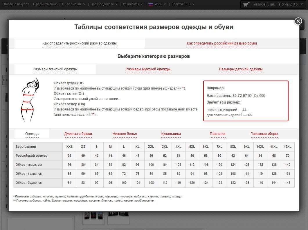 Модуль - Таблицы соответствия размеров одежды и обуви