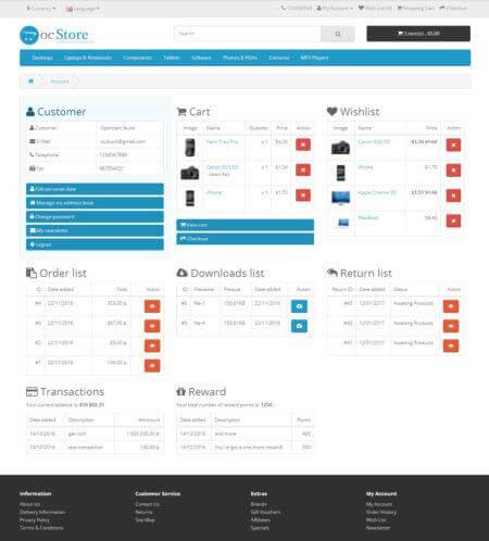 Simple Account Page Простой личный кабинет 2.x 1.1